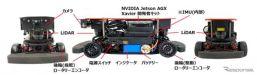 RoboCar 1/10X センサ構成 (写真左:フロント、写真中:サイド、写真右:バック)《画像提供 ZMP》