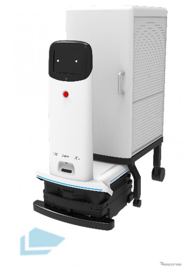 脱着型カート方式の「多用途搬送サービスロボットシステム」《写真提供 三菱電機》
