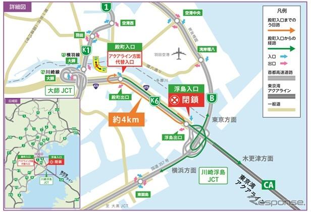 東京湾アクアライン・首都高湾岸線 浮島入口《写真提供 首都高速道路》