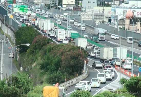 一宮ICでの渋滞状況《写真提供 中日本高速道路》