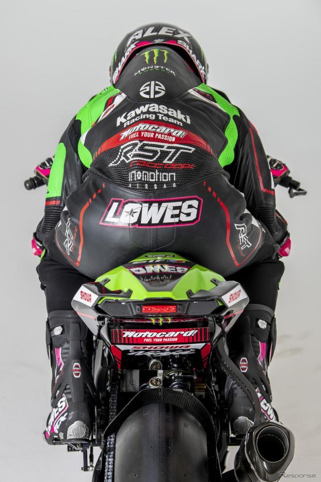アレック・ロウズとNinja ZX-10RRスーパーバイク世界選手権2021年使用《写真提供 川崎重工業》