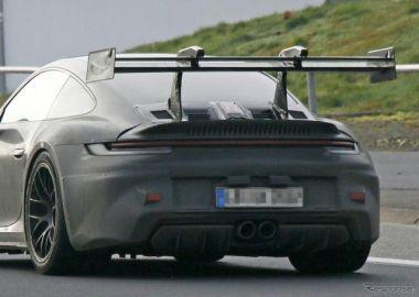 この巨大ウイングで公道モデル!? ポルシェ 911 GT3 RS 新型、最新プロトを確認