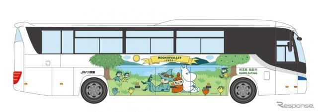 ムーミンバレーのラッピングバスを運行、車内で動画も…JRバス関東が期間限定で