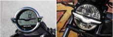 イーグルの姿を連想させるフルデジタル丸形シングルダイアル(左)とLEDヘッドライト《写真提供 ピアッジオグループジャパン》