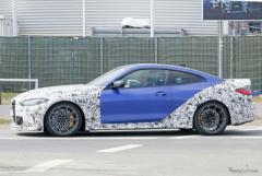 BMW M4 最強モデルの名は「CS」か「CSL」か…高速テストでボディパネル露出