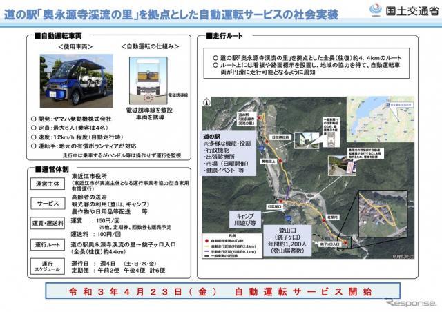 道の駅「奥永源寺渓流の里」自動運転サービスの概要《資料提供 国交省》