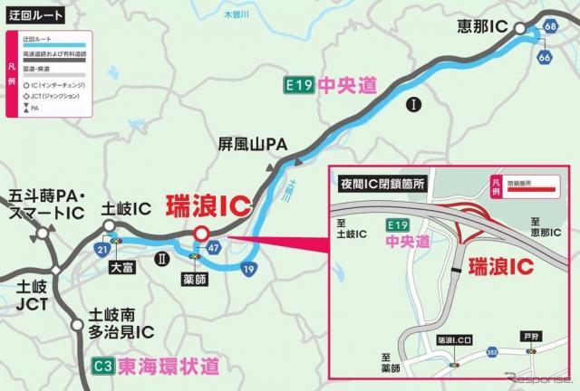 代替ICと迂回ルート《資料提供 NEXCO中日本》