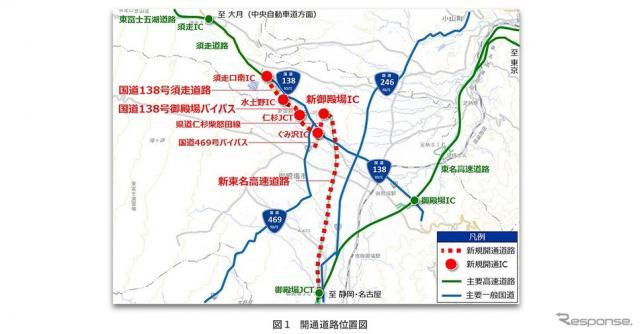 開通道路位置図《図版提供 ナビタイムジャパン》