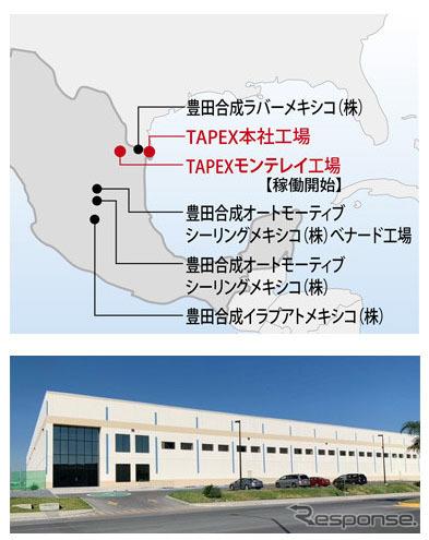 メキシコの生産体制(6拠点)とモンテレイ工場《写真提供 豊田合成》