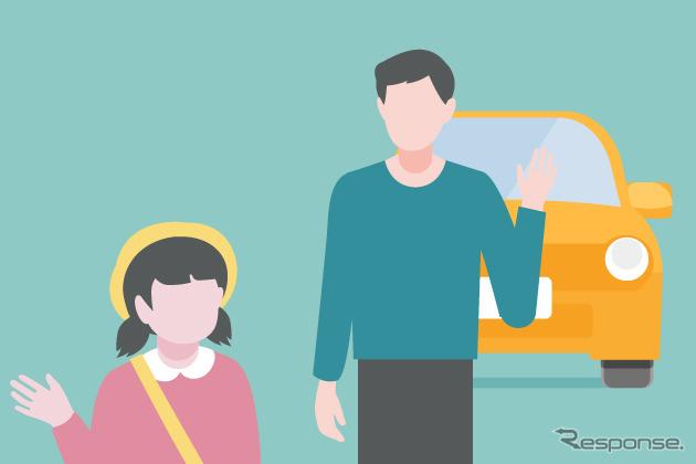 子どもの通園のために毎日送迎している《図版提供 アクサ損害保険》