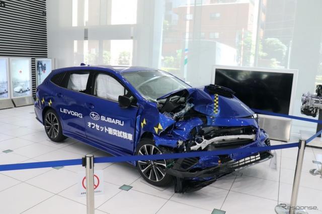 実験車両は東京・恵比寿のスバル本社ショールームで展示される。《写真撮影 中尾真二》