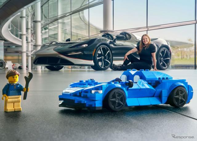 マクラーレン・エルバの実車と「レゴ・スピードチャンピオン」、チーフ開発エンジニアのレイチェル・ブラウン氏《photo by McLaren Automotive》