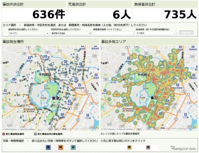 交通事故マップのイメージ(参考画像)《画像提供 三井住友海上火災保険》