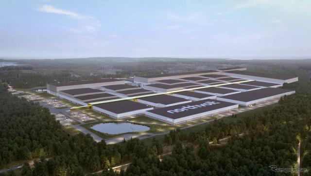 フォルクスワーゲングループが追加出資するスウェーデンの電池メーカーのノースボルトの新工場完成予想イメージ《photo by VW》