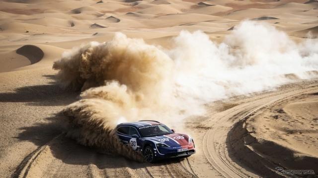 ポルシェの680馬力EVスポーツ、ドリフトをドローンで撮る…気温差60度の砂漠と雪上