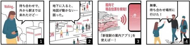 新宿駅周辺の「屋内案内誘導アプリ」実証結果…7割以上が「利用したい」