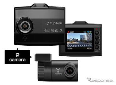あおり運転をスマホに自動記録、ユピテルが無線LAN対応2カメラドラレコ発売へ