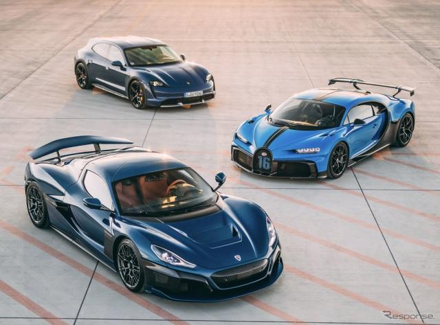 手前からリマック・ネヴェラ と ブガッティ・シロン  と ポルシェ・タイカン・クロスツーリスモ《photo by Porsche》