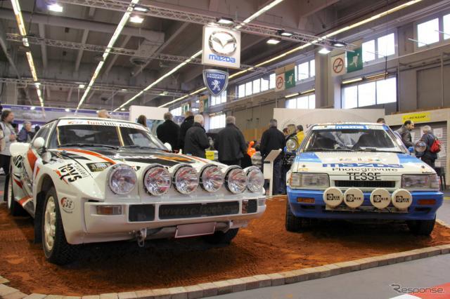1984年マツダRX-7グループBと1988年マツダ323 4WDグループN。パリ・レトロモビル2011で