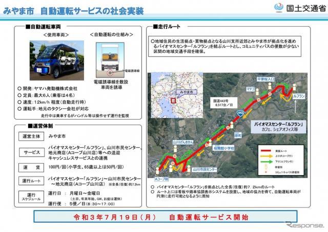 みやま市での中山間地域における道の駅を拠点とした自動運転サービス概要《資料提供 国交省》