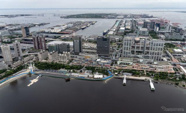 東京2020オリンピック・パラリン大会トライアスロン競技の会場となるお台場海浜公園《Photo by Carl Court/Getty Images News/ゲッティイメージズ》