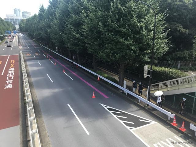 東京・国立競技場付近での交通規制《写真撮影 高木啓》