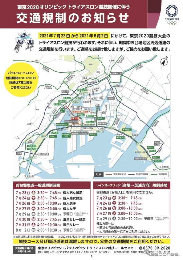 東京2020オリンピック大会トライアスロン競技に伴う交通規制《画像提供 公益財団法人東京オリンピック・パラリンピック競技大会組織委員会》