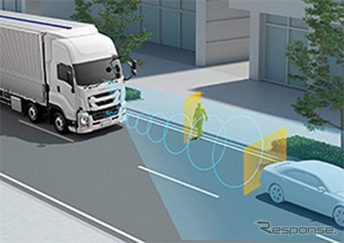 歩行者検知機能付プリクラッシュブレーキ《写真提供 いすゞ自動車》