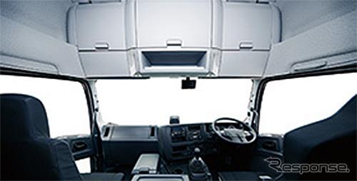 専用大型ヘッダーコンソールを備えた全高3.8m級新ハイルーフを採用《写真提供 いすゞ自動車》