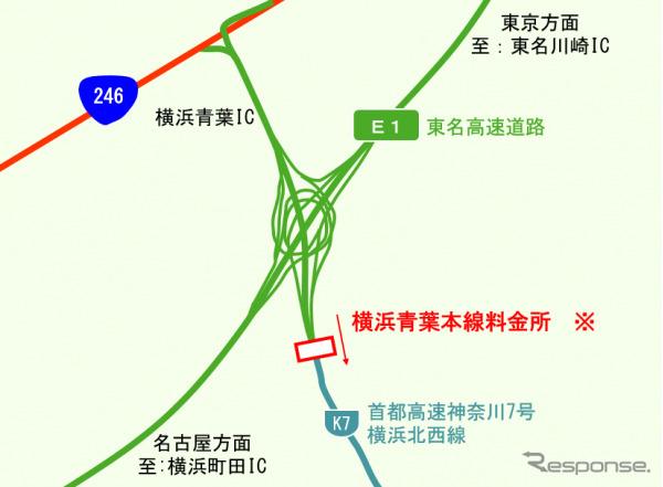 東名高速道路 横浜青葉本線料金所 位置図《図版提供 中日本高速道路》