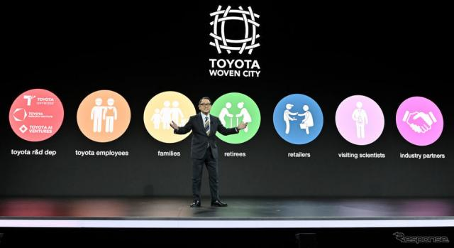 CES 2020でプレゼンテーションするトヨタ自動車の豊田社長《Photo by David Becker/Getty Images News/ゲッティイメージズ》