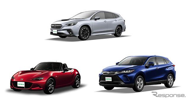 導入予定車種(一部)、スバル レヴォーグ(上)、マツダ ロードスター(左)、トヨタ 新型ハリアー(右)《写真提供 三井不動産リアルティ》