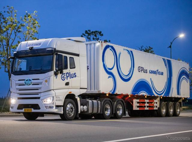 グッドイヤーのタイヤを履くPlus社の自動運転テクノロジー搭載大型トラック《photo by Goodyear》