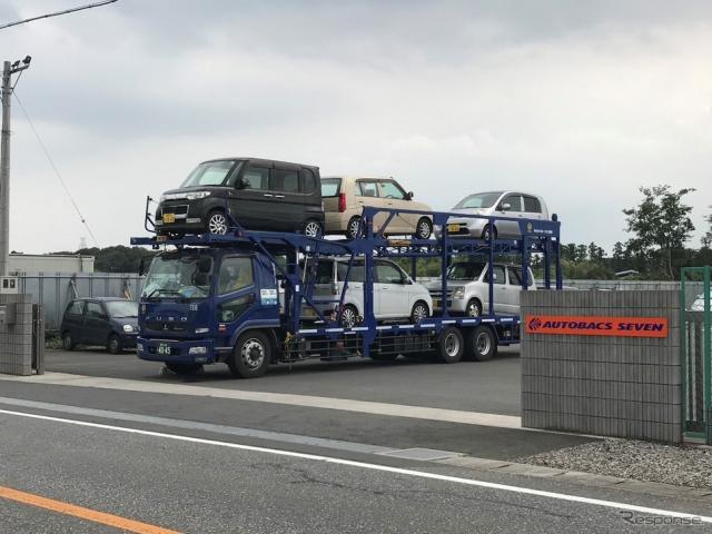 千葉県野田市から佐賀県武雄市に向けて出発した5台の寄付車両《写真提供 オートバックスセブン》