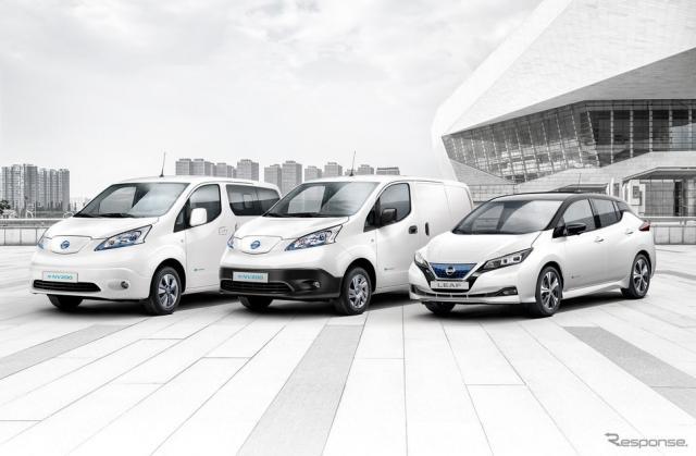 日産の欧州EVラインナップ。e-NV200とリーフ《photo by Nissan》