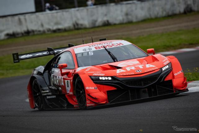【SUPER GT 第5戦】GT500クラスポールポジションの#8 ARTA NSX-GT(野尻智紀/福住仁嶺)《撮影 益田和久》
