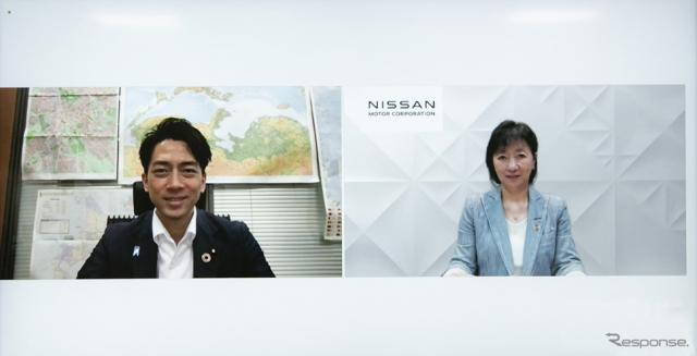 小泉進次郎環境大臣(左)と日産自動車の星野朝子副社長(右)《写真提供 日産自動車》