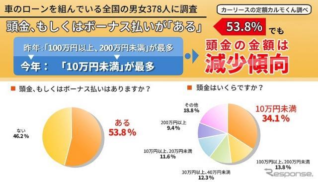頭金やボーナス払いがあるは53.8%、頭金の金額は減少傾向《図版提供 ナイル》