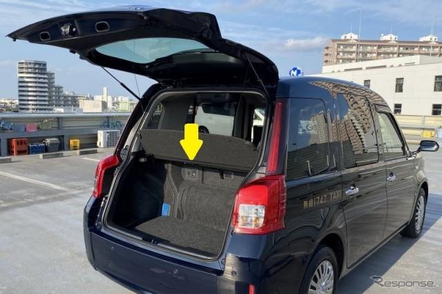 アクセサリーコンセントを装備したジャパンタクシー《写真提供 日本交通》