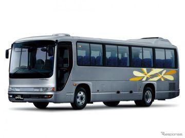 いすゞ、中型観光バス『ガーラミオ』の先進安全装備を拡充