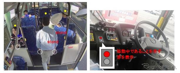 乗客が着席前であることをAIが検出し、その結果を運転席付近に表示《写真提供 フジクラ》