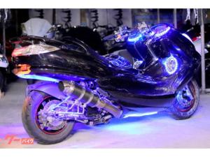 ヤマハ/マジェスティFRP製チョップフェイス4発スピーカー全身ブルーLED紫ラメカスタム塗装フルカスタム