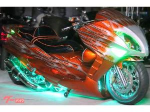ヤマハ/マジェスティDC製エアサスロンホイFIRE炎カスタム塗装USAスピーカー七色LED社外ホイール強力ストロボ