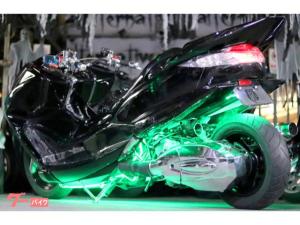 ヤマハ/マジェスティaprロンホイMAC製悪目BADフェイス七色LED4スピーカー武蔵ショート管フルエアロカスタム