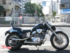 ホンダ/スティード400 スラッシュカットマフラー バッグレスト バーハンドル ブラック ツーリングバッグ
