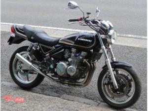 カワサキ/ZEPHYR400 ブラックゴールドボールカラー UPハンドル 社外マフラー