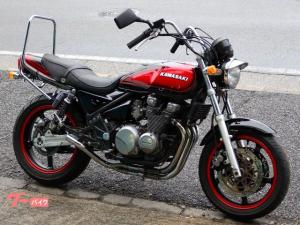 カワサキ/ZEPHYR400 ブラックレッドボール UPハンドル 社外マフラー ロングタンデムバー