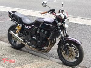 カワサキ/ZRX400-II パープル UPハンドル 集合管 タックロールシート タンデムバー