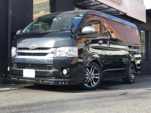 トヨタ ハイエースワゴン GL ローエンコンプリートカー ALPINEフリップダウンモニター 片側電動スライドドア スマートキー ALPINEナビ バックカメラ 社外レーダー 4列10人乗り 黒革調シートカバー オートエアコン