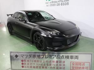 マツダ RX-8 タイプE 色替車 ワンオーナー マットブラック レザーシート MSエアロ 大型ウイング ブラック18AW スマートキー HID